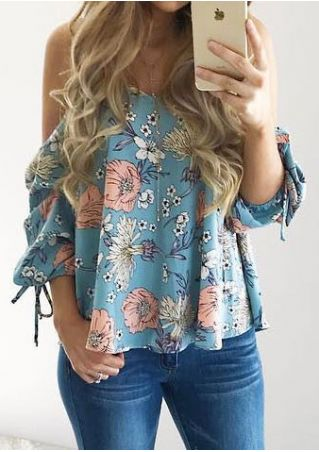 Floral Spaghetti Strap Cold Shoulder Blouse without Necklace
