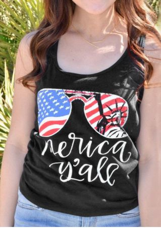 'Merica Y'all American Flag Glasses Tank