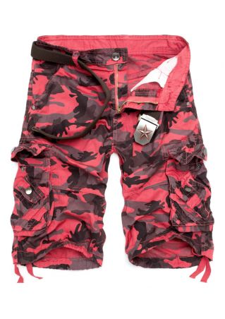 Camouflage Printed Pocket Button Shorts without Belt