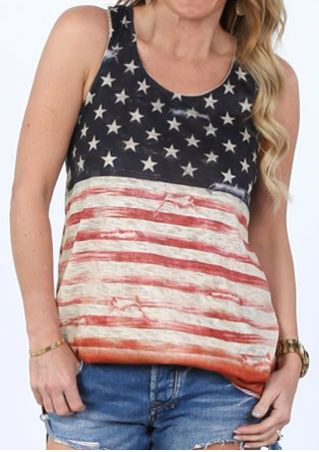 American Flag Striped Star Tank