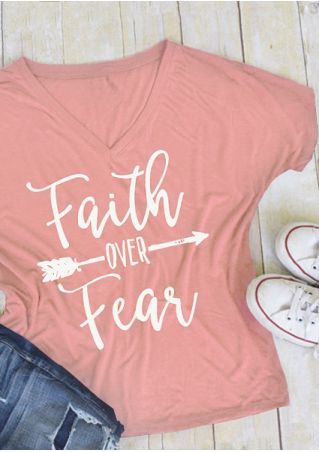 Faith Over Fear Arrow V-Neck T-Shirt