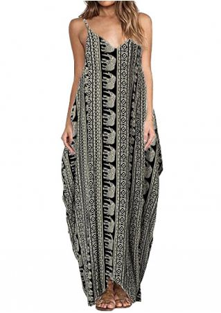 Elephant Spaghetti Strap Maxi Dress