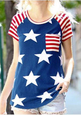 American Flag Pocket Baseball T-Shirt