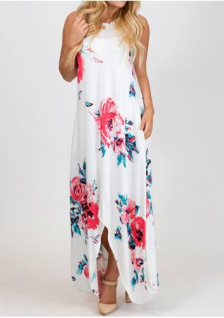 Floral Criss-Cross Asymmetric Maxi Dress without Necklace
