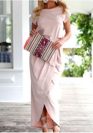 Solid Slit Maxi Dress with Belt