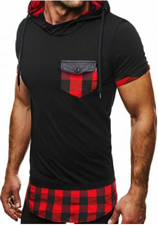Plaid Splicing Pocket Hooded T-Shirt