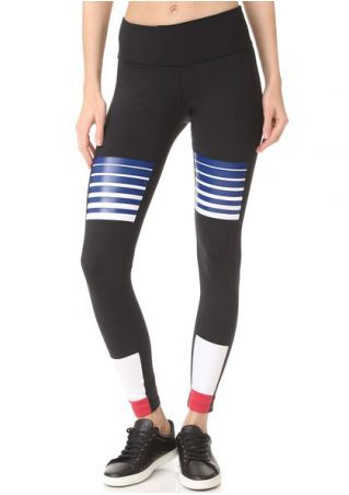 Printed Striped Splicing Skinny Leggings