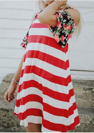 Floral Striped Splicing Cold Shoulder Mini Dress