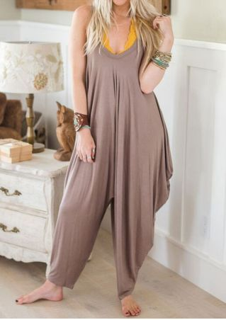 Solid Ruffled Spaghetti Strap Jumpsuit