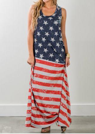 American Flag Printed Star Maxi Dress