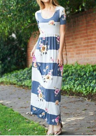 Floral Color Block O-Neck Maxi Dress