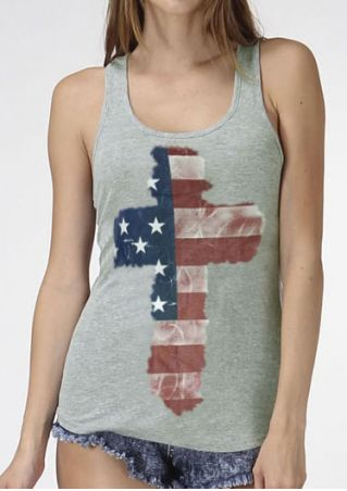 Cross American Flag Tank