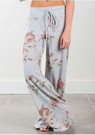 Floral Drawstring Wide Leg Pants