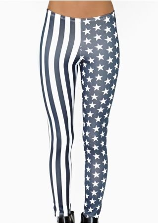 American Flag Striped Star Leggings