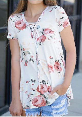 Floral Lace Up Short Sleeve Blouse