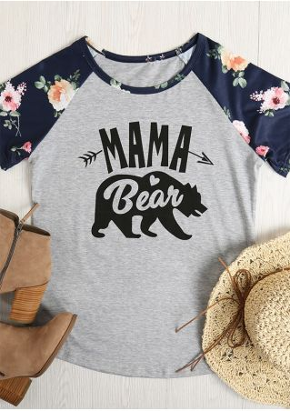 Floral Mama Bear Short Sleeve Baseball T-Shirt