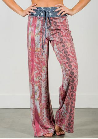Floral Star Drawstring Wide Leg Pants