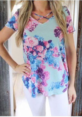 Floral Criss-Cross Short Sleeve Blouse
