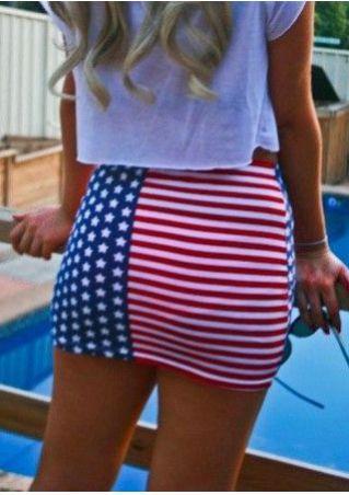 American Flag Printed Bodycon Skirt