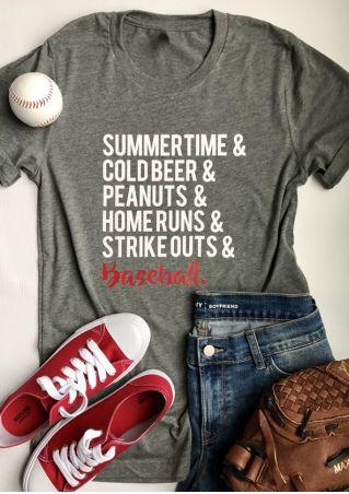 Summertime & Cold Beer & Peanuts Baseball T-Shirt