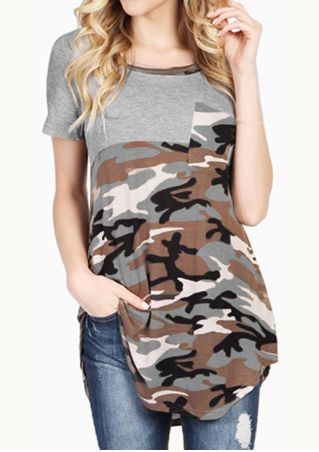 Camouflage Splicing Pocket O-Neck T-Shirt without Necklace