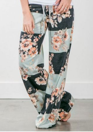 Floral Drawstring Fashion Wide Leg Pants
