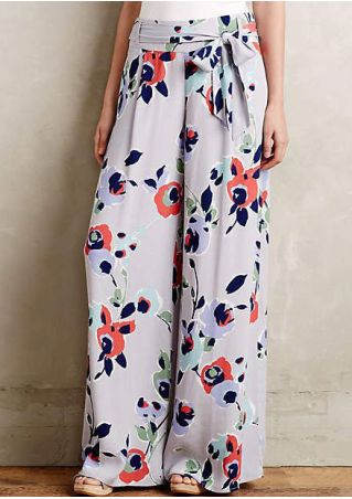 Floral Wide Leg Pants with Belt