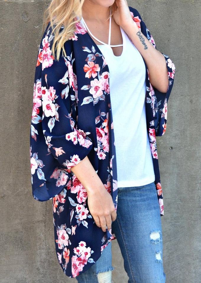 acbd1980882 Floral Chiffon Kimono Cardigan - Bellelily