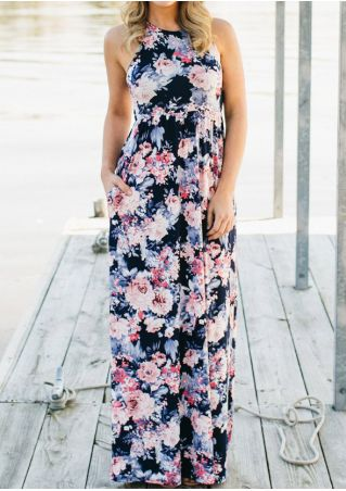 Floral O-Neck Sleeveless Maxi Dress