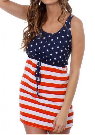 American Flag Printed Drawstring Mini Dress