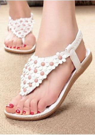 Flower Elastic Band Flat Sandals
