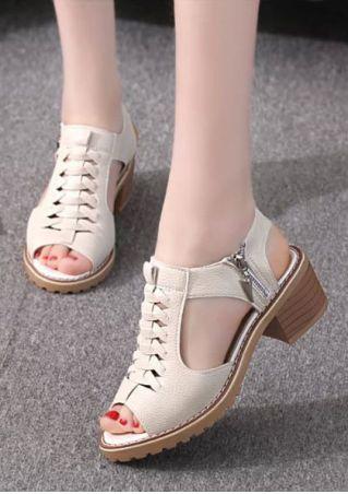 Solid Cross Zipper Heeled Sandals