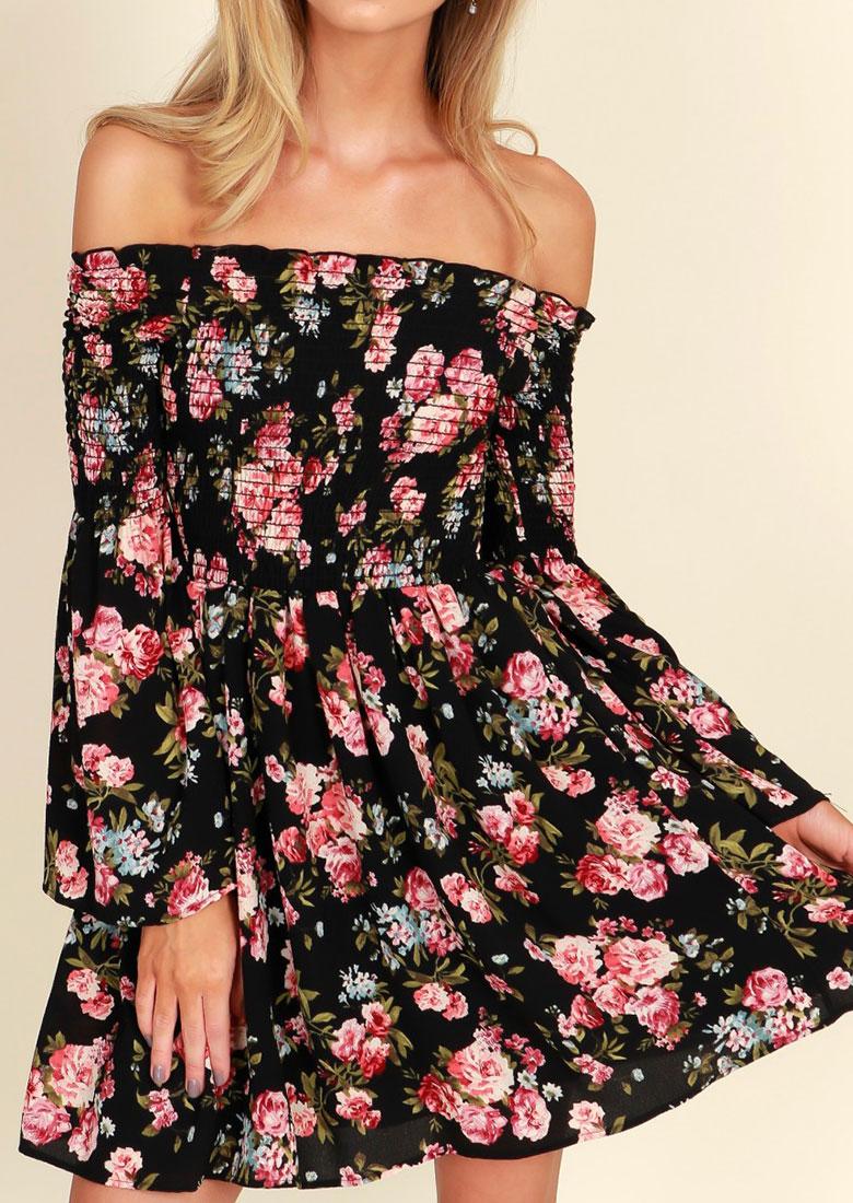 Floral Off Shoulder Ruffled Mini Dress 30815