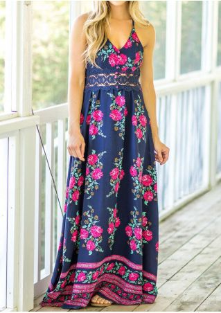 Floral Lace Splicing Maxi Dress