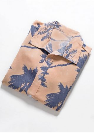 Coconut Tree Button Short Sleeve Shirt