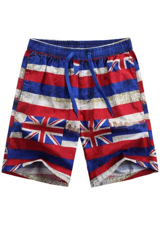 Union Jack Drawstring Pocket Shorts