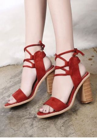 Solid Lace Up Ankle Wrap Heeled Sandals