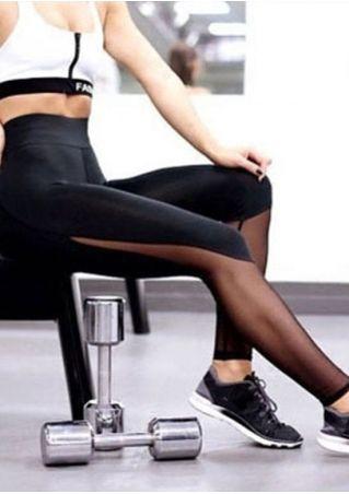Solid Mesh Splicing Yoga Sport Pants