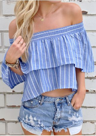 Striped Layered Off Shoulder Crop Top without Necklace