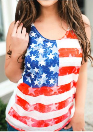 American Flag Star Striped Splicing Tank
