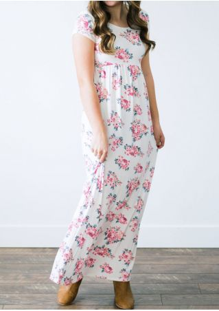Floral Short Sleeve O-Neck Maxi Dress