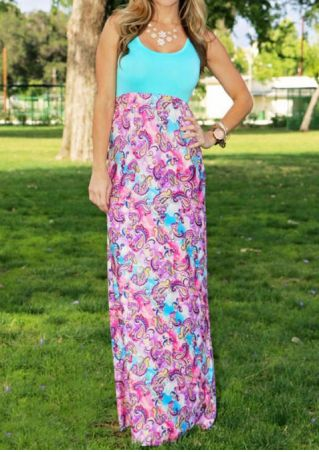 Printed Sleeveless Maxi Dress without Necklace