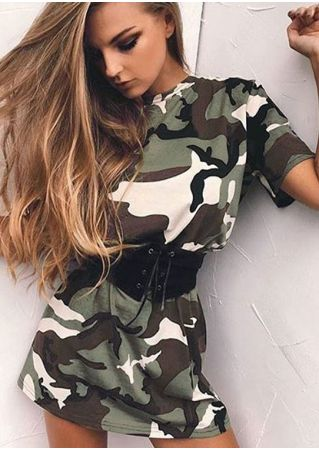 Camouflage Printed Mini Dress with Belt
