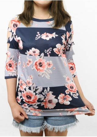 Floral Splicing Hollow Out Blouse without Necklace