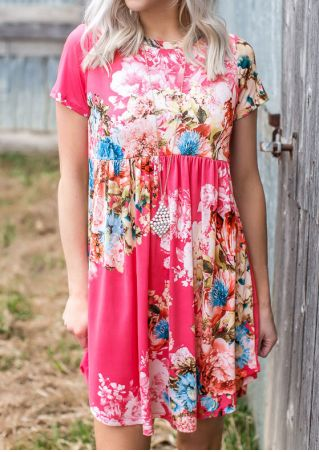 Floral Ruffled Short Sleeve Casual Dress without Necklace