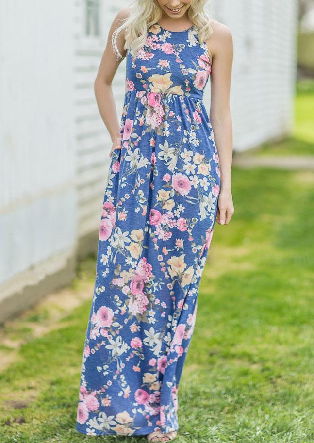 Floral O-Neck Sleeveless Maxi Dress 30922