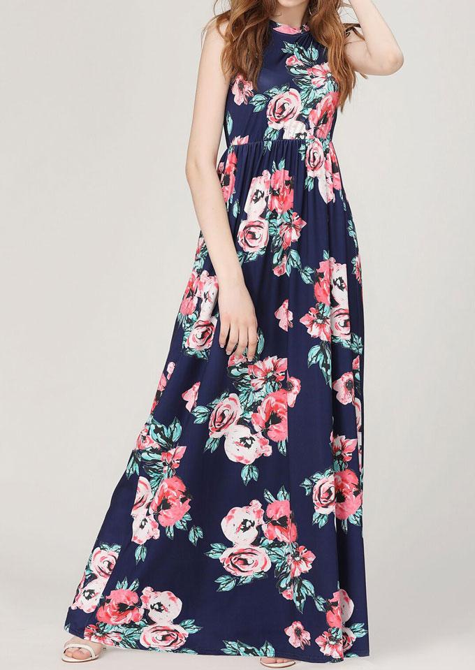 Floral Ruffled Sleeveless Maxi Dress 30945