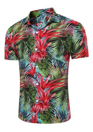 Coconut Tree Button Short Sleeve Shirt