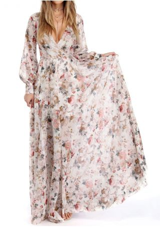 Floral Maxi Dress with Belt without Necklace