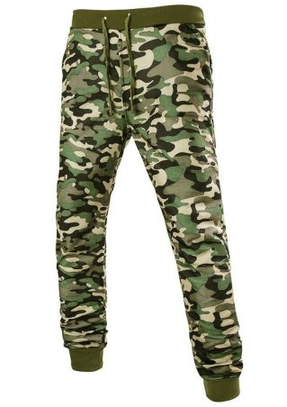 Camouflage Printed Pocket Drawstring Pants